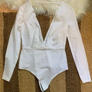 American Apparel Other - American Apparel White Double V Thong Bodysuit